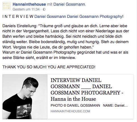 Daniel Gossmann Interview Hannainthehouse